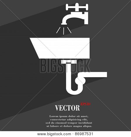 Washbasin Icon Symbol Flat Modern Web Design With Long Shadow And Space For Your Text. Vector
