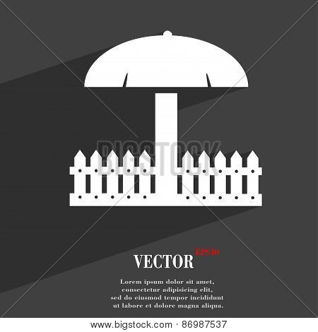 Sandbox Icon Symbol Flat Modern Web Design With Long Shadow And Space For Your Text. Vector