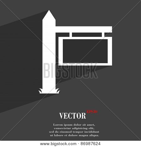 Information Road Sign Icon Symbol Flat Modern Web Design With Long Shadow And Space For Your Text. V