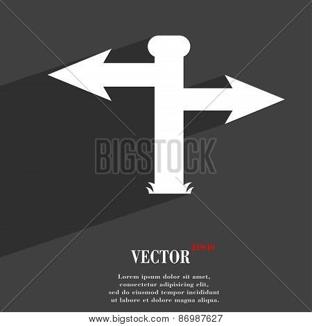 Blank Road Sign  Icon Symbol Flat Modern Web Design With Long Shadow And Space For Your Text. Vector