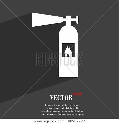 Fire Extinguisher Icon Symbol Flat Modern Web Design With Long Shadow And Space For Your Text. Vecto