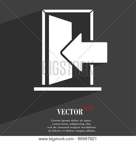 Door, Enter Or Exit Icon Symbol Flat Modern Web Design With Long Shadow And Space For Your Text. Vec