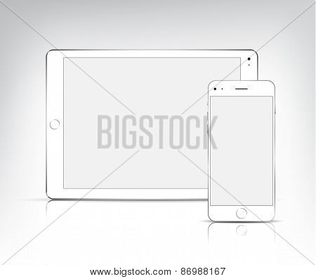 vector white tablet pc and phone