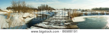 Wooden Bridge Winter Panorama
