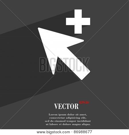 Cursor, Arrow Plus, Add Icon Symbol Flat Modern Web Design With Long Shadow And Space For Your Text.