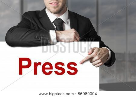 Businessman Pointing On Sign Press