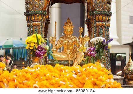 The Golden Four-faced Brahma (phra Phrom) In Bangkok City, Thailand.
