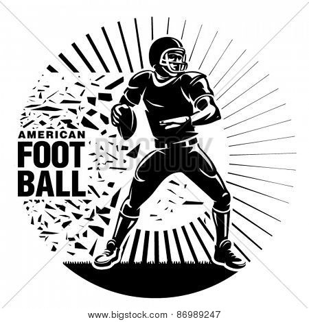 Gridiron football. Player with ball during the game. Vector illustration in the engraving style