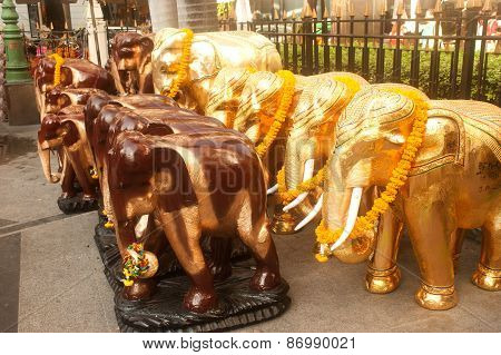 Wood Elephants At Erawan Shrine In Bangkok .