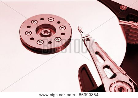 Hdd - A red Hard Disk Drive Is Open