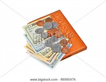 Dollar banknote and coin with passport