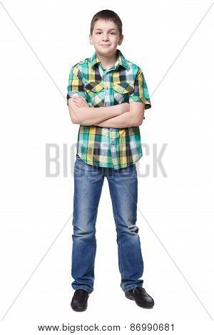 Smiling young boy in shirt and jeans full lenght isolated on white background