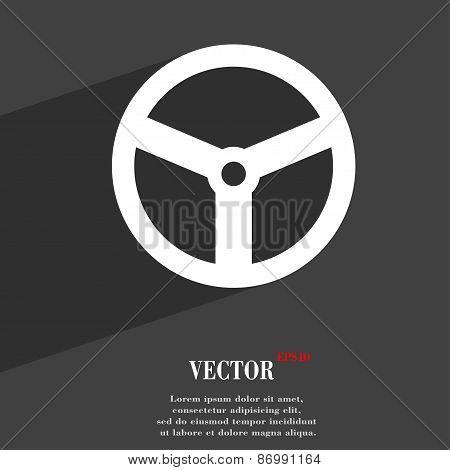 Steering Wheel Icon Symbol Flat Modern Web Design With Long Shadow And Space For Your Text. Vector