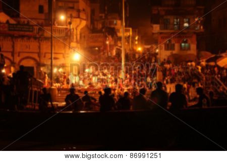 Blurred performance with silhouette during the evening in Varanasi, India
