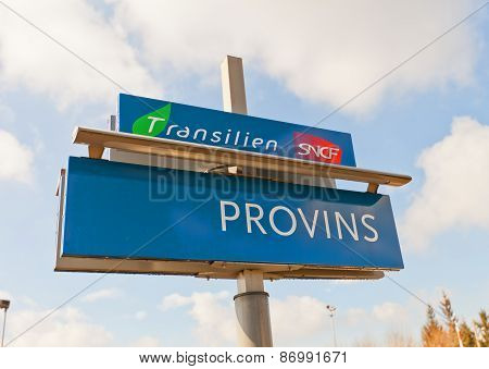 Railway Platform Sign In Provins, France
