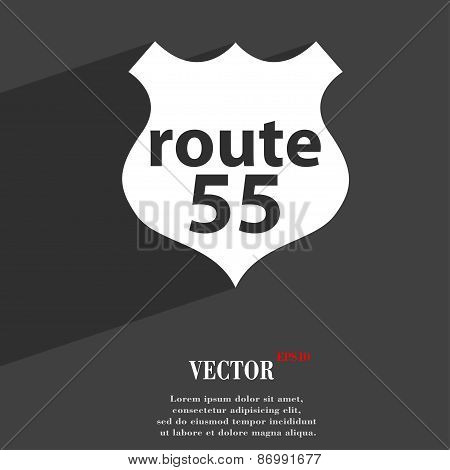 Route 55 Highway Icon Symbol Flat Modern Web Design With Long Shadow And Space For Your Text. Vector