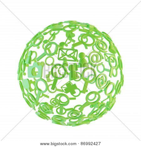 Green Ball Made Of Social Network Icons