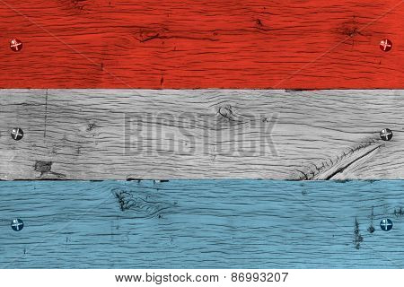 Luxembourg National Flag Painted Old Oak Wood Fastened
