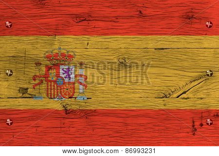Spain National Flag Painted Old Oak Wood Fastened