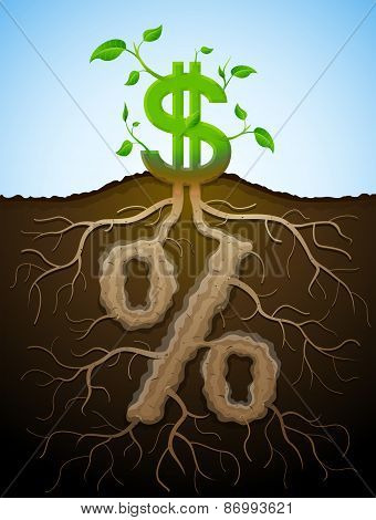 Growing Dollar Sign As Plant With Leaves And Percent Sign As Root