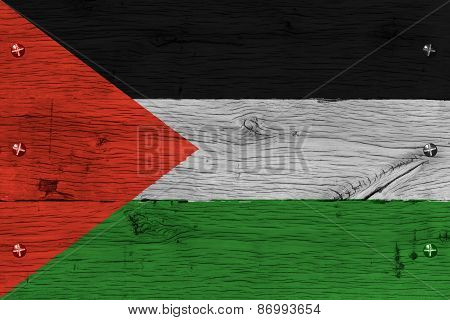 Palestine Flag Painted Old Oak Wood Fastened