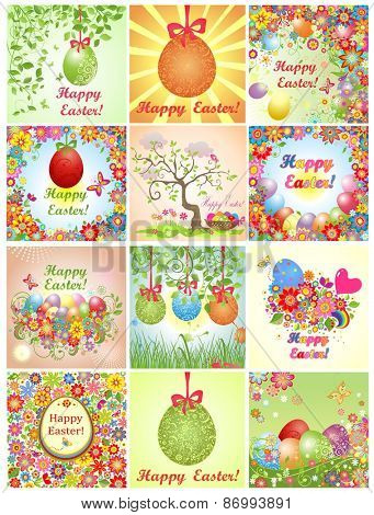 Collection of easter greeting cards with colorful flowers and eggs