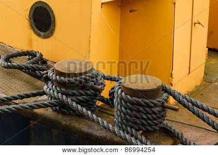 Boat Secured With Ropes