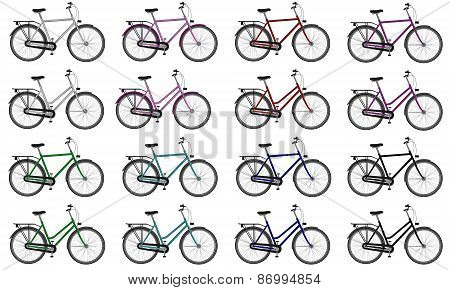 Set of colorful male and female bicycles - 3D render