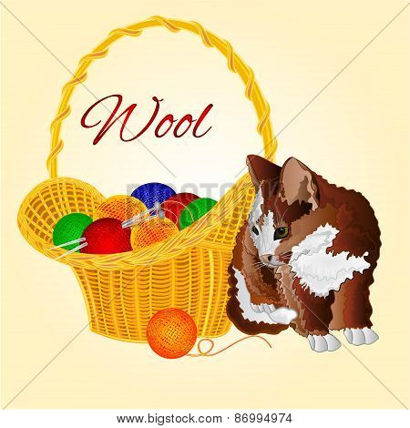 Kitten And A Basket With Balls Of Wool Vector