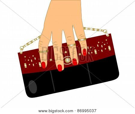 Small bags for your phone and a female hand