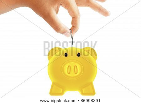 Saving Money By Putting Coin Into Piggy Gold Bank
