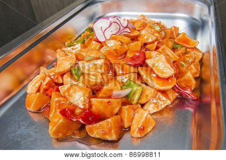 Sweet Chilli Potatoes At A Chinese Buffet
