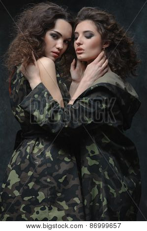 couple of models in khaki uniform