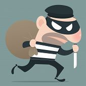 picture of smuggling  - Thief holding knife in his hand and carrying a money bag EPS10 Vector - JPG
