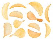 picture of potato chips  - potato chips close up isolated on a white background - JPG