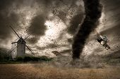 stock photo of hurricane wind  - View of a large tornado destroying the landscape - JPG