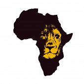 picture of lions-head  - Africa map with lion head - JPG