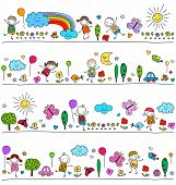 picture of nursery school child  - colorful pattern for children with cute nature elements - JPG