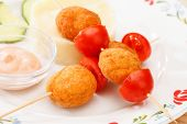 stock photo of mashed potatoes  - chicken balls with mashed potatoes - JPG