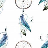 picture of dreamcatcher  - Beautiful vector pattern with nice watercolor dreamcatcher - JPG
