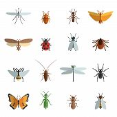stock photo of insect  - Insect icon flat set with mosquito grasshopper spider ant isolated vector illustration - JPG