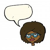 stock photo of spectacles  - cartoon woman wearing spectacles with speech bubble - JPG