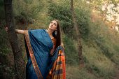 pic of indian sari  - Beautiful girl in traditional Indian sari on temple background - JPG