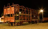 pic of wagon  - One very old railway wagon with most of it frame steel frame work showing - JPG