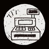 stock photo of cash register  - Cash Register Doodle Drawing - JPG