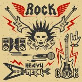 image of rock star  - Rock music and heavy metal vector illustration grunge effect is removable - JPG