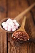 image of chocolate spoon  - fine grated chocolate and marshmallow candy  in old spoon - JPG