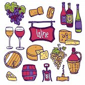 pic of vines  - Wine decorative icon set with hand drawn grape vine cheese cork isolated vector illustration - JPG