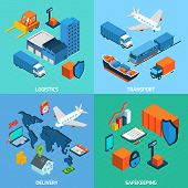 picture of logistics  - Logistics isometric set with transport safekeeping delivery 3d icons isolated vector illustration - JPG