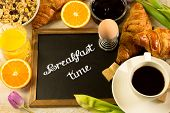 pic of breakfast  - breakfast table with a chalkboard in the middle text  - JPG